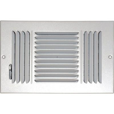 6 in. x 10 in. Ceiling/Sidewall Vent Register, White with 3-Way Deflection