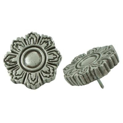Contempo Flora Pewter 1-1/5 in. x 1-1/5 in. Mosaic Medallion Pin Insert Wall Tile (4-Pack)