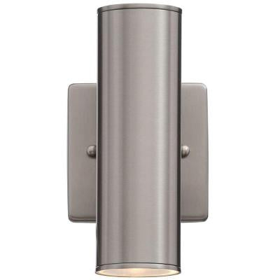 Riga 2-Light Stainless Steel Outdoor Wall-Mount Cylinder Light Fixture