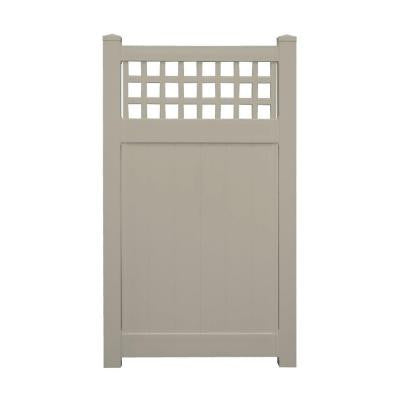 Tacoma 3.7 ft. x 6 ft. Khaki Vinyl Privacy Fence Gate