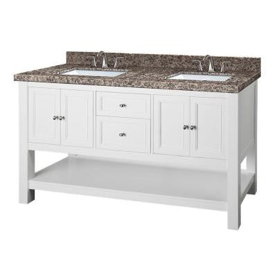 Gazette 61 in. W x 22 in. D Double Vanity in White with Granite Vanity Top in Sircolo and White Basins