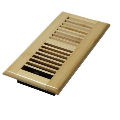 4 in. x 10 in. Wood Natural Bamboo Louvered Design Floor Register