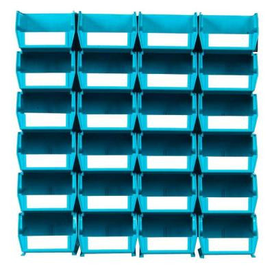 LocBin Small Wall Storage Bin (24-Piece) with 2-Wall Mount Rails in Teal