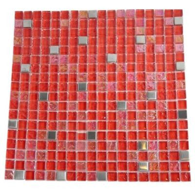 Bloody Mary Squares 12 in. x 12 in. x 8 mm Glass Mosaic Floor and Wall Tile