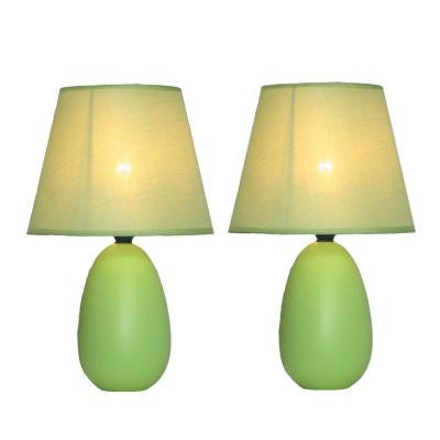 Mini 9 in. Egg Oval Green Ceramic Table Lamp 2 Pack Set