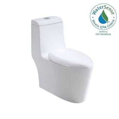 1-piece 1.6 GPF Elongated Toilet in White