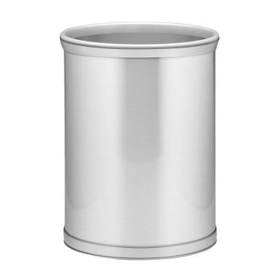Brushed Chrome Mylar Trash Can with 3/4 in. Brushed Chrome Band and Grey Bumper