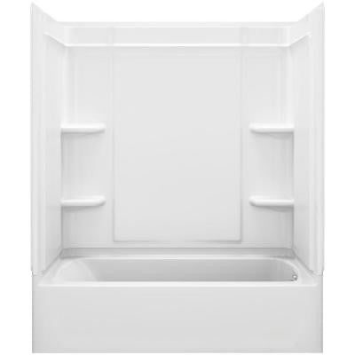 Ensemble Medley 60 in. x 31.25 in. x 74.25 in. 4-piece Tongue and Groove Tub Wall in White