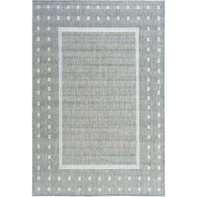 Jardin Collection Contemporary Bordered Design Gray 5 ft. 3 in. x 7 ft. 3 in. Outdoor Area Rug
