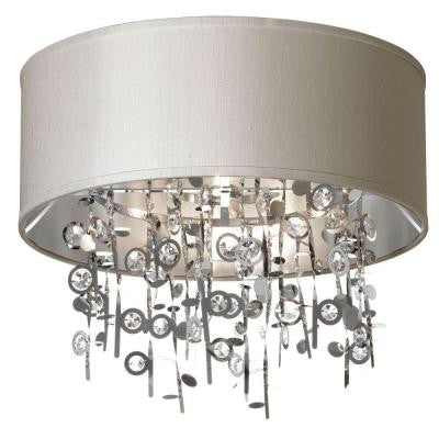 Picabo 4-Light Polished Chrome Crystal Semi-Flush Mount with Pebble Shade