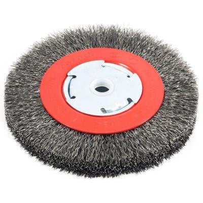 6 in. x 1/2 in. and 5/8 in. Arbor Narrow Face Coarse Crimped Wire Bench Wheel Brush