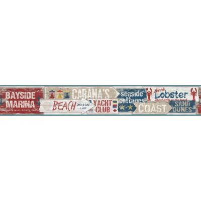 9 in. Nautical Living Beach Signs Border