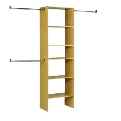 25 in. 5-Shelf/3-Rod Laminate Closet Tower Organizer in Birch