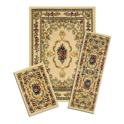 Savonnerie Beige 3 Piece Set Contains 5 ft. x 7 ft. Area Rug, Matching 22 in. x 59 in. Runner and 22 in. x 31 in. Mat