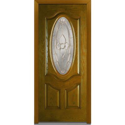 36 in. x 80 in. Master Nouveau Decorative Glass 3/4 Oval Lite 2-Panel Finished Oak Fiberglass Prehung Front Door