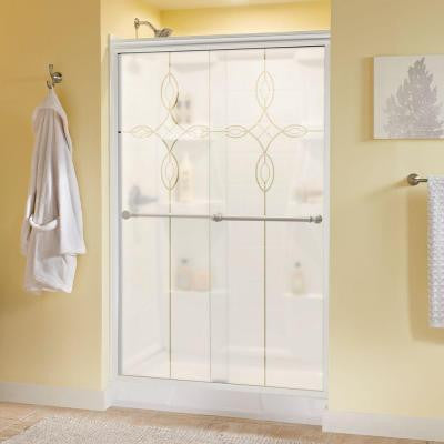 Silverton 47-3/8 in. x 70 in. Semi-Framed Sliding Shower Door in White with Tranquility Glass and Nickel Handle