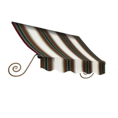18 ft. Charleston Window Awning (44 in. H x 36 in. D) in Burgundy/Forest/Tan Stripe