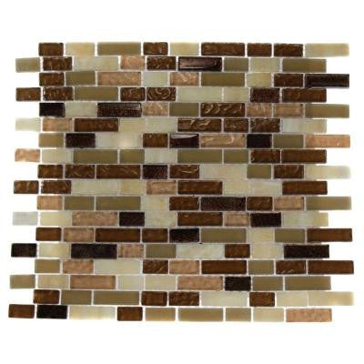 Southern Comfort Brick Pattern 12 in. x 12 in. x 8 mm Marble and Glass Mosaic Floor and Wall Tile