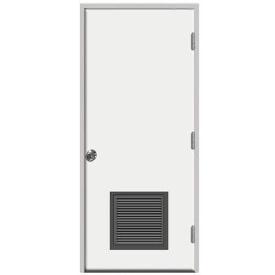 36 in. x 80 in. Premium Vented Flush Primed White Left-Hand Outswing Steel Prehung Front Door with 4 in. Wall