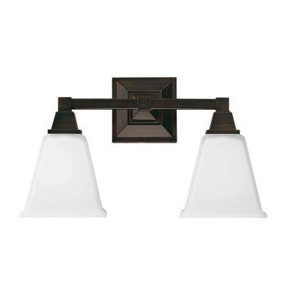 Denhelm 2-Light Burnt Sienna Wall/Bath Vanity Light with Inside White Painted Etched Glass