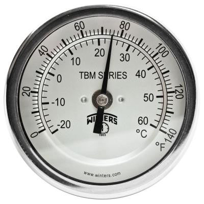 TBM Series 3 in. Dial Thermometer with Fixed Center Back Connection and 2.5 in. Stem with Range of 0-140°F/C
