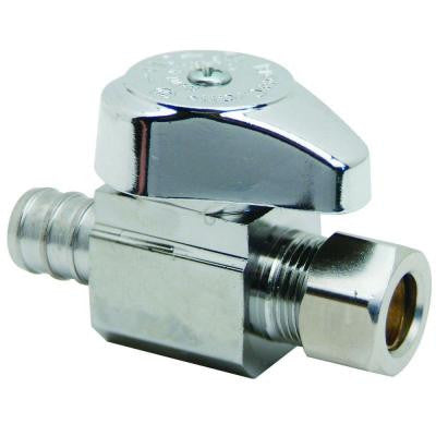 1/2 in. Nominal Crimp PEX Barb Inlet x 3/8 in. O.D. Compression Outlet Brass 1/4-Turn Straight Valve (5-Pack)