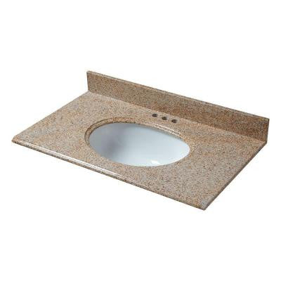 25 in. x 22 in. Granite Vanity Top in Beige with White Bowl and 4 in. Faucet Spread