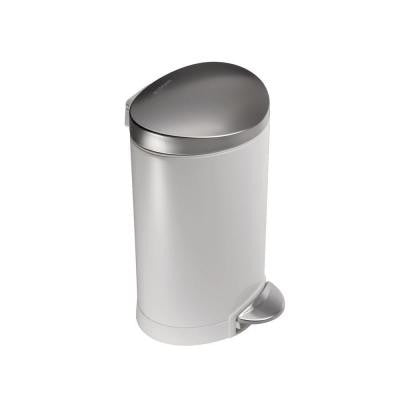 1.6 Gal. White Semi-Round Step-On Trash Can