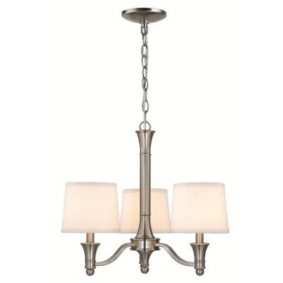 Towne Collection 3-Light Brushed Nickel Hanging Chandelier