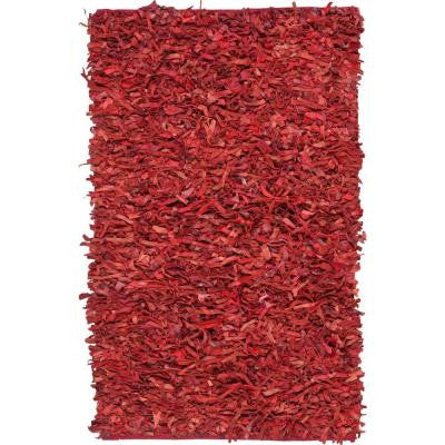 Leather Shag Red 4 ft. x 6 ft. Area Rug