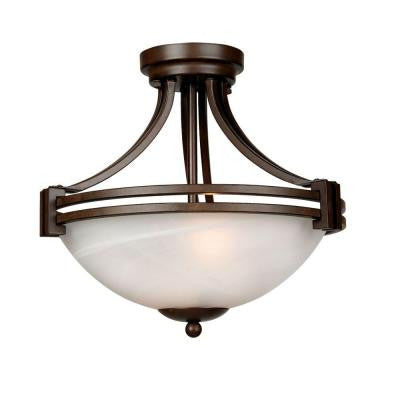Sequoia Lighting Collection 2-Light Dark Brown Pendant with Frosted Alabaster Glass Shade