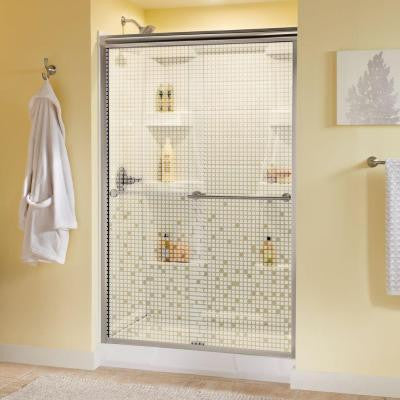 Lyndall 48 in. x 70 in. Semi-Framed Sliding Shower Door in Nickel with Mosaic Glass
