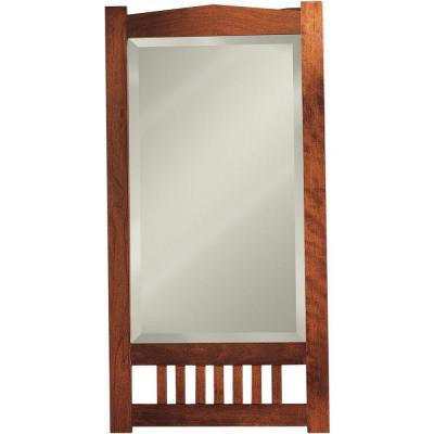 Mission 17.188 in. W x 33.438 in. H x 5.125 in. D Recessed Mirrored Medicine Cabinet in Cherry