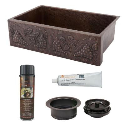 Undermount Hammered Copper 33 in. 0-Hole Single Bowl Kitchen Sink with Vineyard Design and Drain in Oil Rubbed Bronze