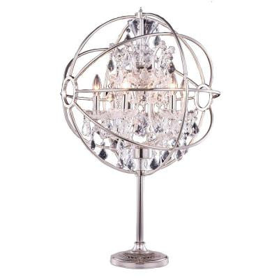 Geneva 34 in. Polished Nickel Table Lamp with Clear Crystal