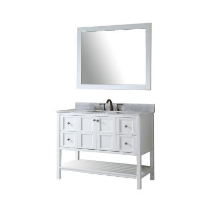 Winterfell 48 in. Vanity in Antique White with Marble Vanity Top in Italian Carrara White and Mirror