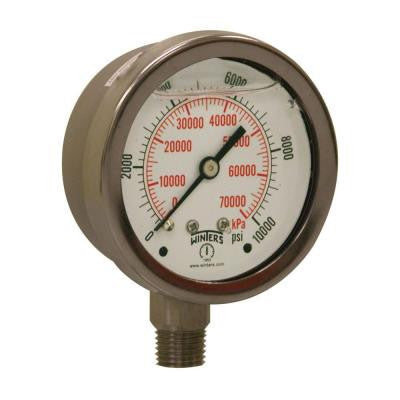 PFP Series 2.5 in. Stainless Steel Liquid Filled Case Pressure Gauge with 1/4 in. NPT LM and Range of 0-10000 psi/kPa