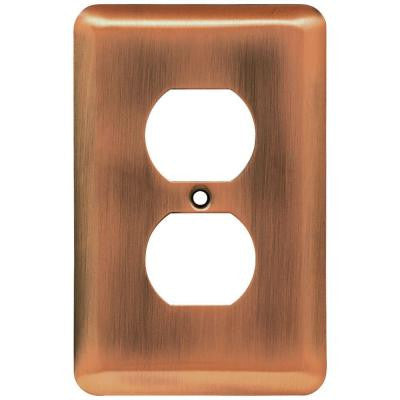 Stamped Round 1 Duplex Outlet Wall Plate - Antique Copper
