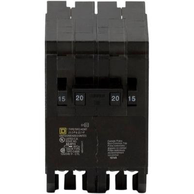 Homeline 2-15 Amp Single-Pole 1-20 Amp Two-Pole Quad Tandem Circuit Breaker
