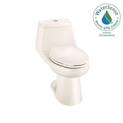 1-piece 1.1/1.6 GPF Dual Flush Elongated Toilet in Bone