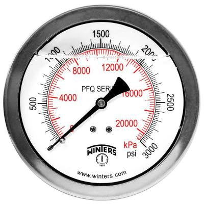 PFQ Series 4 in. Stainless Steel Liquid Filled Case Pressure Gauge with 1/2 in. NPT CBM and Range of 0-3000 psi/kPa