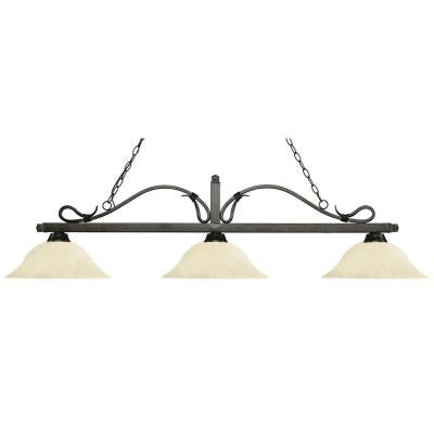 Linna 3-Light Golden Bronze Island Light with Golden Mottle Glass Shades