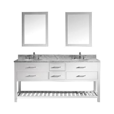 Caroline Estate 72 in. Double Vanity in White with Marble Vanity Top in Italian Carrara White and Mirror