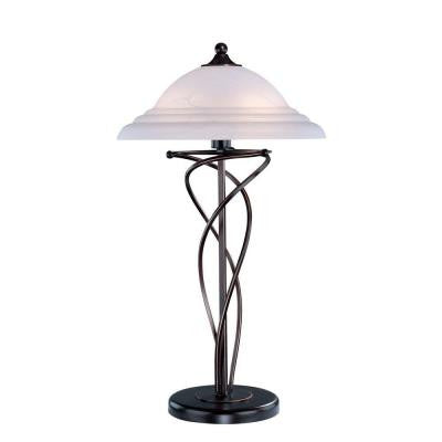 28.5 in. Dark Bronze Table Lamp with Cloud Glass Shade
