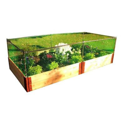 Two Inch Series 4 ft. x 8 ft. x 12 in. Cedar Raised Garden Bed Kit with Animal Barrier