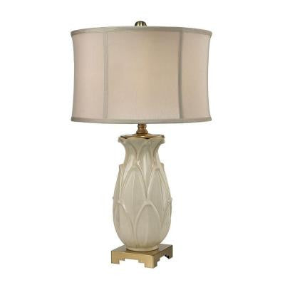 Ceramic Leaf 30 in. Cream and Antique Brass Table Lamp with Shade