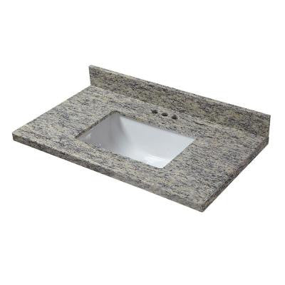 37 in. W x 19 in. D Granite Vanity Top in Santa Cecilia with White Single Trough Basin