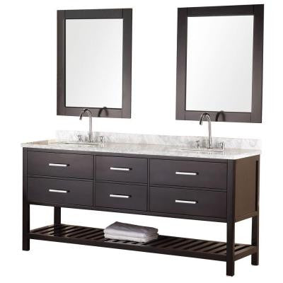 Mission 72 in. W x 22 in. D Vanity in Espresso with Marble Vanity Top and Mirror in Carrera White