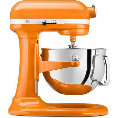 Professional 600 Series 6 Qt. Bowl-Lift Stand Mixer with Pouring Shield in Tangerine