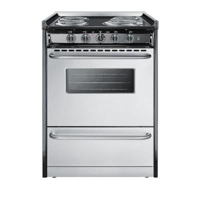 24 in. 2.9 cu. ft. Slide-In Electric Range in Stainless Steel